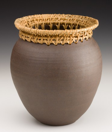 Large Black Mountain Vase with Rattan